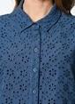 Beymen Studio Dantelli Kısa Kollu Gömlek Mavi